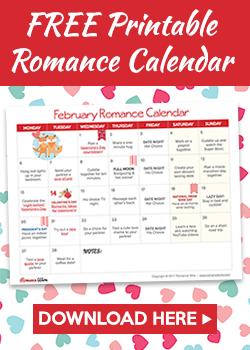 February Romance Calendar